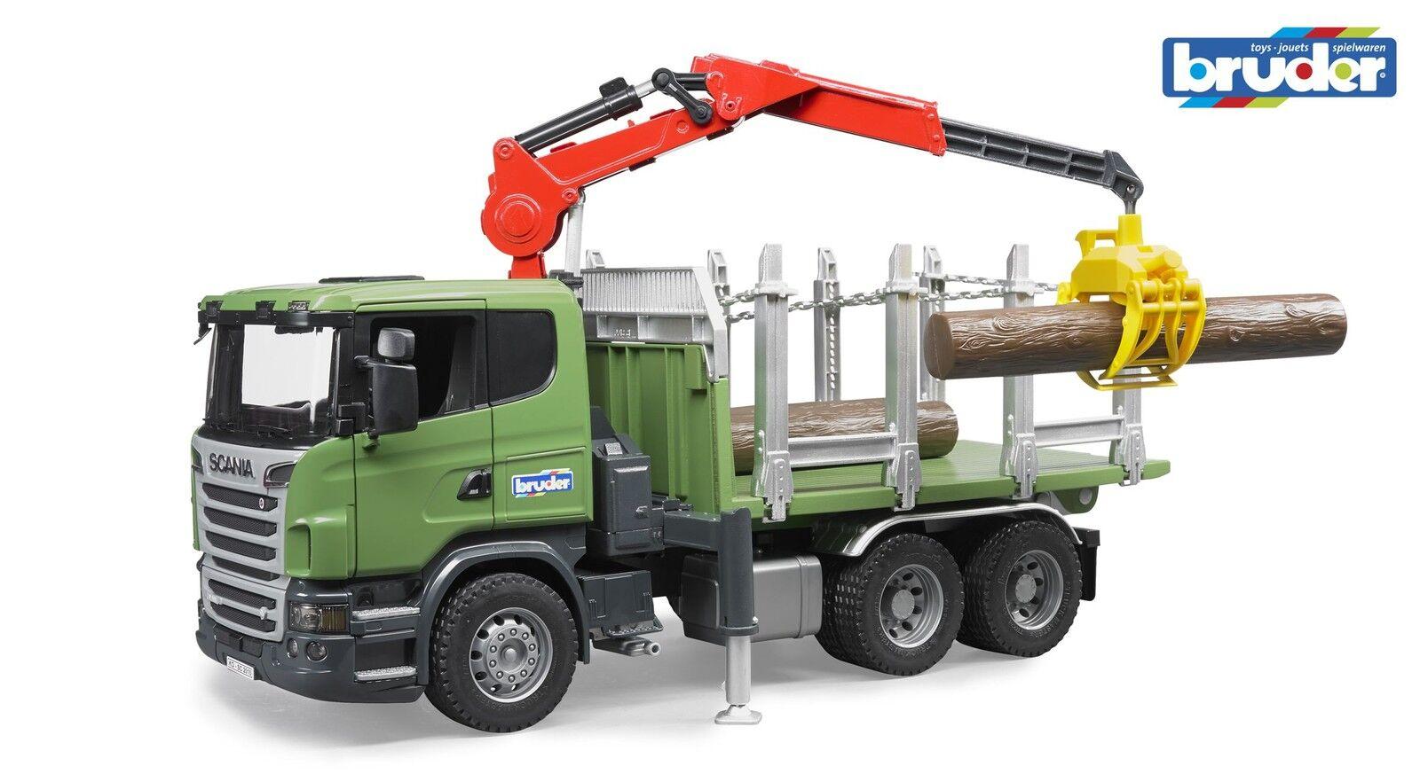 BRUDER® 03524 SCANIA R-Serie Holz - LKW mit Ladekran Ladekran Ladekran & 3 Baumstämme NEU & OVP 3388b4