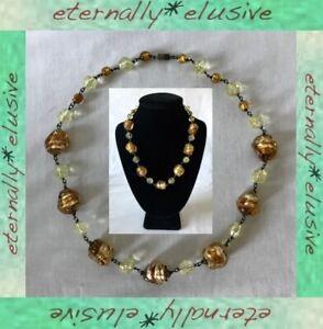 Foil Silver Gold Venetian Murano Glas Bead Necklace Vintage Antique Art Deco 30s