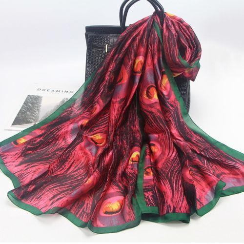 180x90cm Women Peacock Feather Silk Scarf Hijabs Scarves Wraps Shawl Pashmina !!