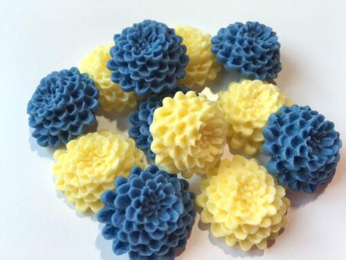 12 Comestible Sucre Bleuet Bleu /& Jaune Chrysanthèmes Fleur Gâteau Décorations