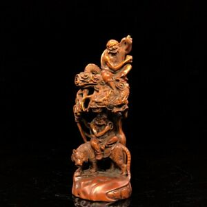 7-034-China-old-antique-Boxwood-wooden-handcarved-dragon-Lohan-statue