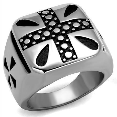 Men's Stainless Steel Cross Epoxy Jet Black Ring  8 9 10 11 12 13 TK2331