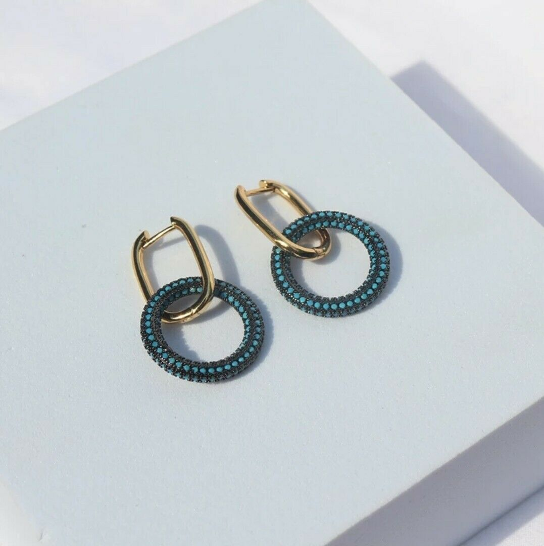 -we❤- High End Drop Link Hoop circle Earrings blue Colour cz Monaco zara style