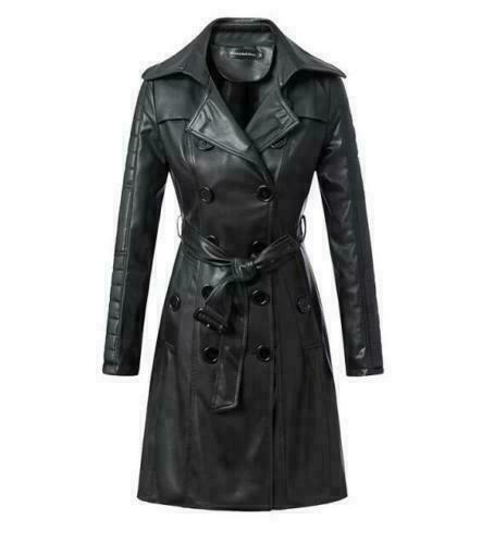 Femmes Véritable Cuir D'agneau Manteau Long Fashion Bouton Noir Ceinture