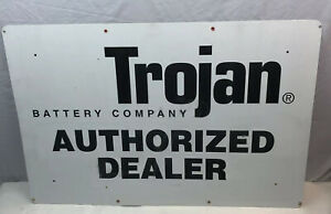 Vintage-Trojan-Battery-Company-Authorized-Dealer-Metal-Service-Sign
