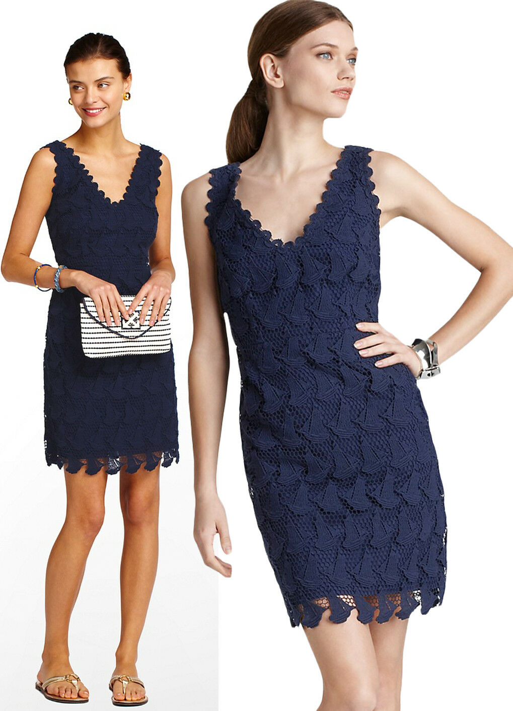 368 Lilly Pulitzer Reeve True Navy Truly Sailboat Boat Lace Dress