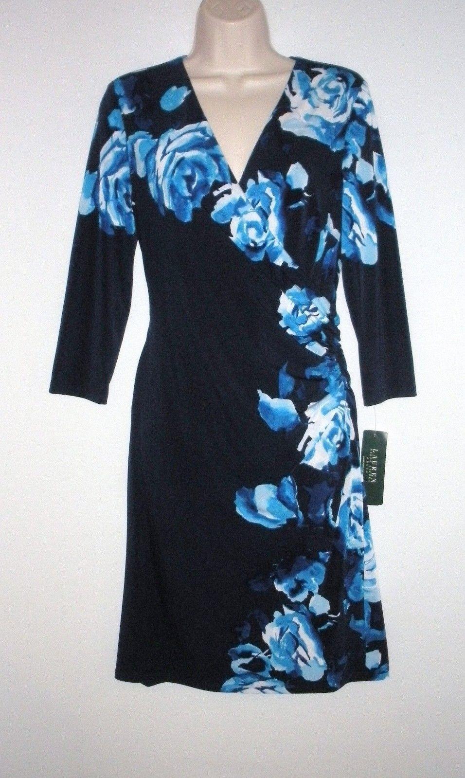 NWT MSRP  - LAUREN RALPH LAUREN Floral 3 4 Sleeve Jersey Dress, Blau Multi