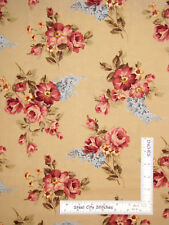 Floral Pink Flowers Butter Yellow Cotton Fabric Timeless Treasures C9464 By Yard