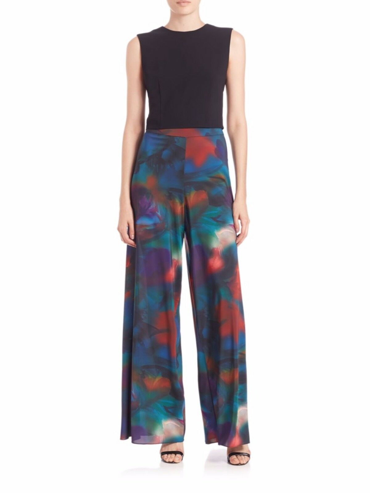 Alice + Olivia Kaleidoscopic High Waist Wide-Leg Paisley Crepe Pants 0 NEW
