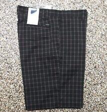 NWT Men's Izod Flat Front XFG Golf Shorts Black Fashion Plaid 32