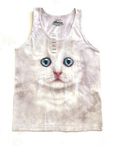 The-Mountain-100-Cotton-Women-039-s-Tank-Top-Ivory-Kitten-Face-NWT