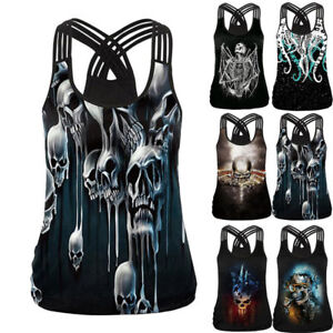 Summer-Women-039-s-Gothic-Animal-Tank-Tops-Sexy-Hollow-Out-3D-Skull-Print-T-Shirts