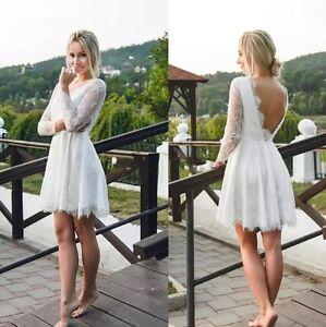 0065018d4 Lace Beach Wedding Dresses Bridal Gown Long Sleeve Short Mini Short ...