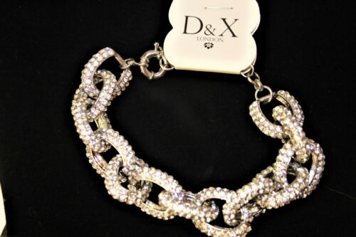 D/&XRHODIUM SILVER PLATED CRYSTALS CHUNKY CHAIN BLING NECKLACE GIFT WEDDING PARTY