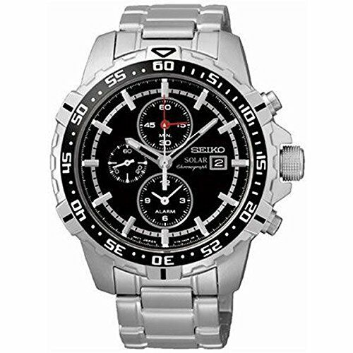 Seiko SSC299 P1 Silver/Black Dial Stainless Steel Men's Solar Chronograph Watch