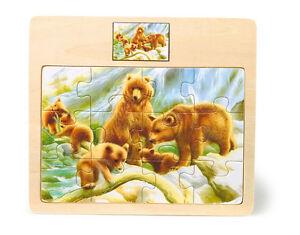 Puzzle-per-bambini-034-Famiglia-di-orsi-e-orsetti-034-12-pezzi-cornice-in-legno