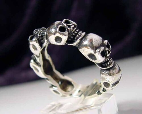Sterling Silver .925 6 Skull Band Ring   MB05//S