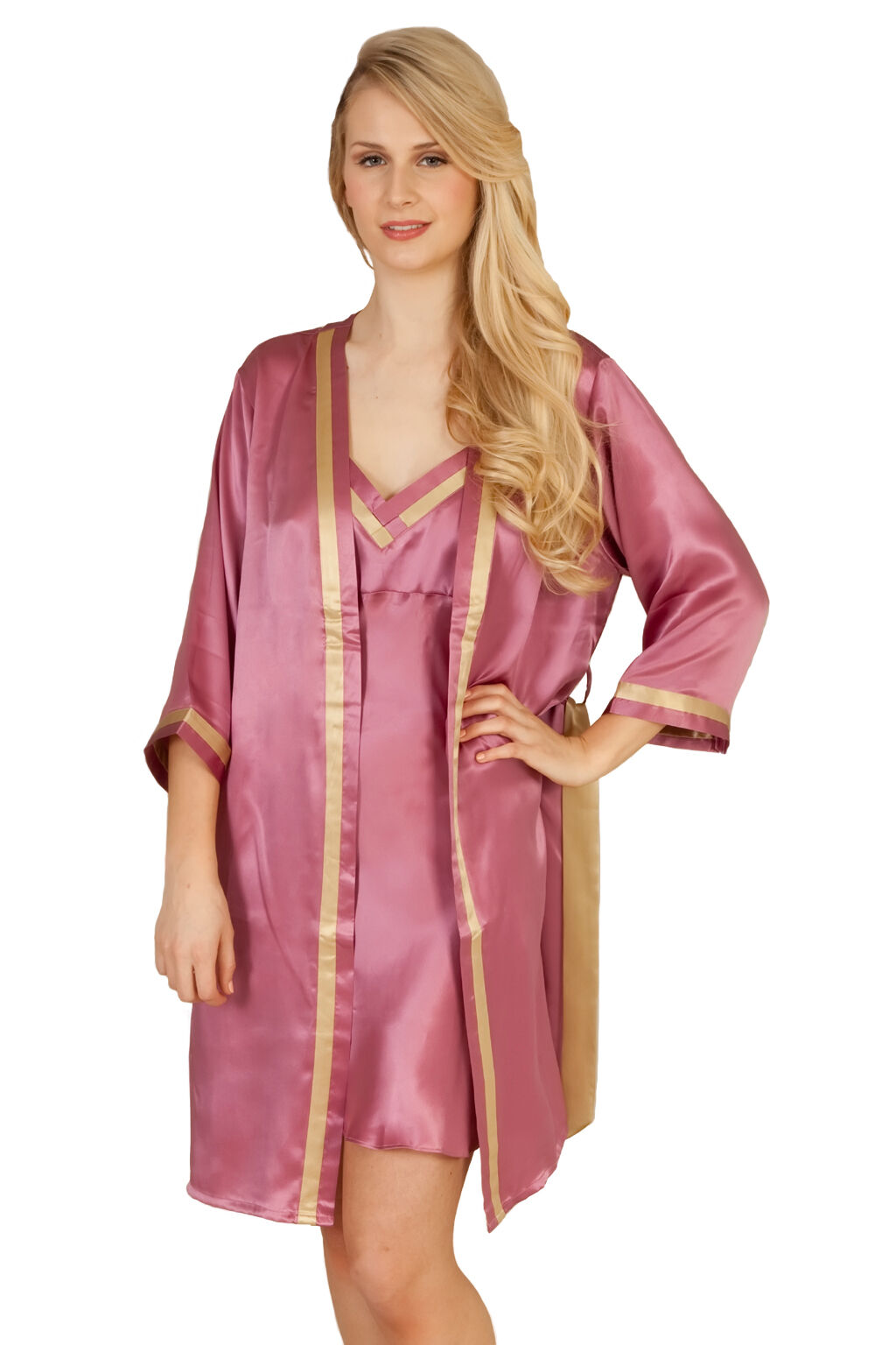 Luxurious Pure Silk Empire pink Dressing Gown NEW With Gift Box Size S