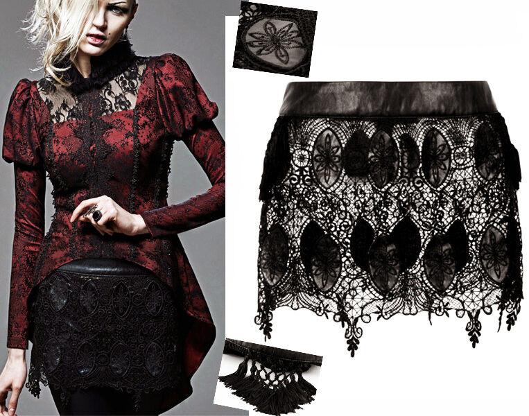 Jupe surjupe gothique lolita burlesque dentelle cuir pompons baroque Punkrave