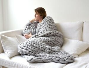 Winter-Warm-Hand-Knitted-Chunky-Soft-Blanket-Thick-Line-Throw-Over-Bed-Bulky