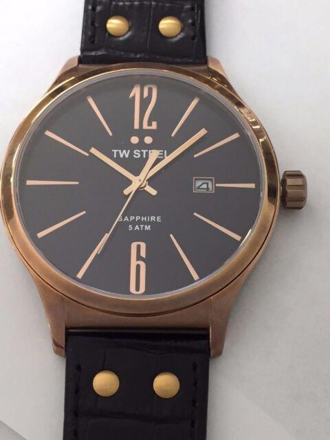 Tw Tw1303 45 Genuine On Watch Strap Steel Slim Black Leather Mm Men's lK1JFc