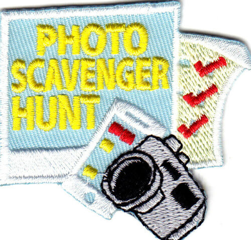 """/""""PHOTO SCAVENGER HUNT Photographs Fun Iron On Embroidered Patch -Words"""