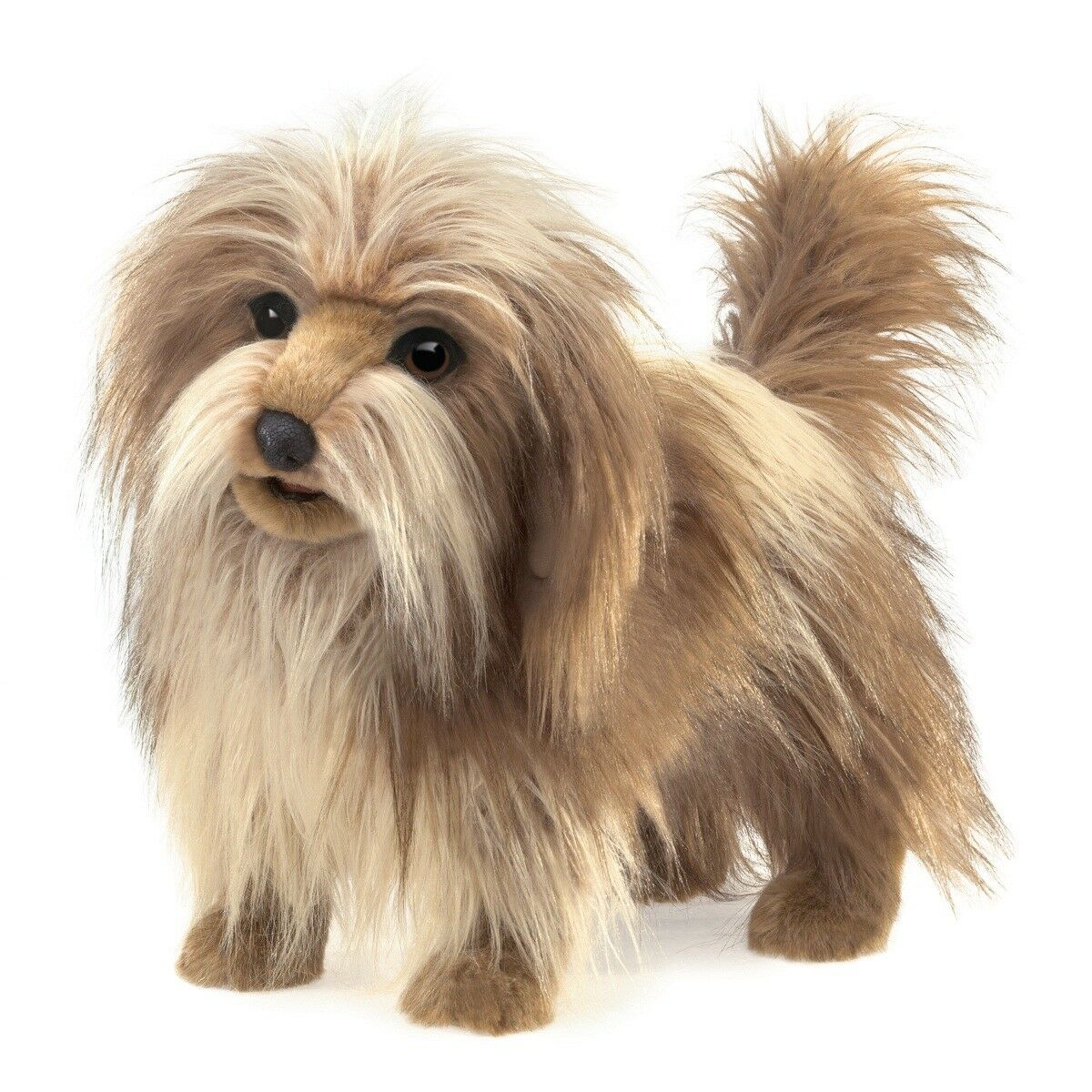 Shaggy Dog Hand Puppet by Folkmanis MPN 3104, Movable Mouth, 3 Years & Up