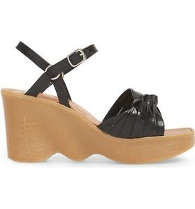 FAMOLARE-Hi-Up-034-Knot-so-fast-034-Strappy-Wedge-Sandals-Heel-Black-Leather-Size-9