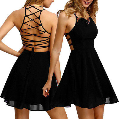 Women A-Line Pleated Party Cocktail Backless Bandage Sleeveless Lady Mini Dress