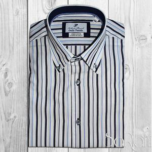 Man Casual Shirt Basic White Cotton Striped Blue Long Sleeve Classical Sarani