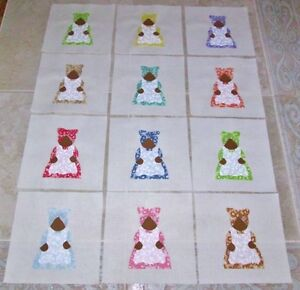 "Set 12 Adorable Aunt Jemima in Vintage 30's Fabrics 6"" x 6"" Cotton Quilt Blocks"