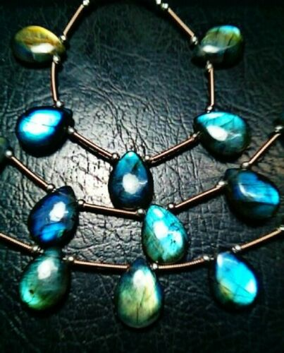 Natural Labradorite Amazing Flash Pear Shape Smooth Briolette Beads 5 Pieces