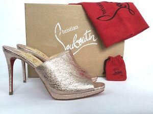 789796bd368 Image is loading Christian-Louboutin-PIGAMULE-Rose-Gold-Leather-Mule-Slide-