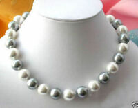 Natural 8mm White Gray South Sea Shell Pearl Necklace 18'' AAA