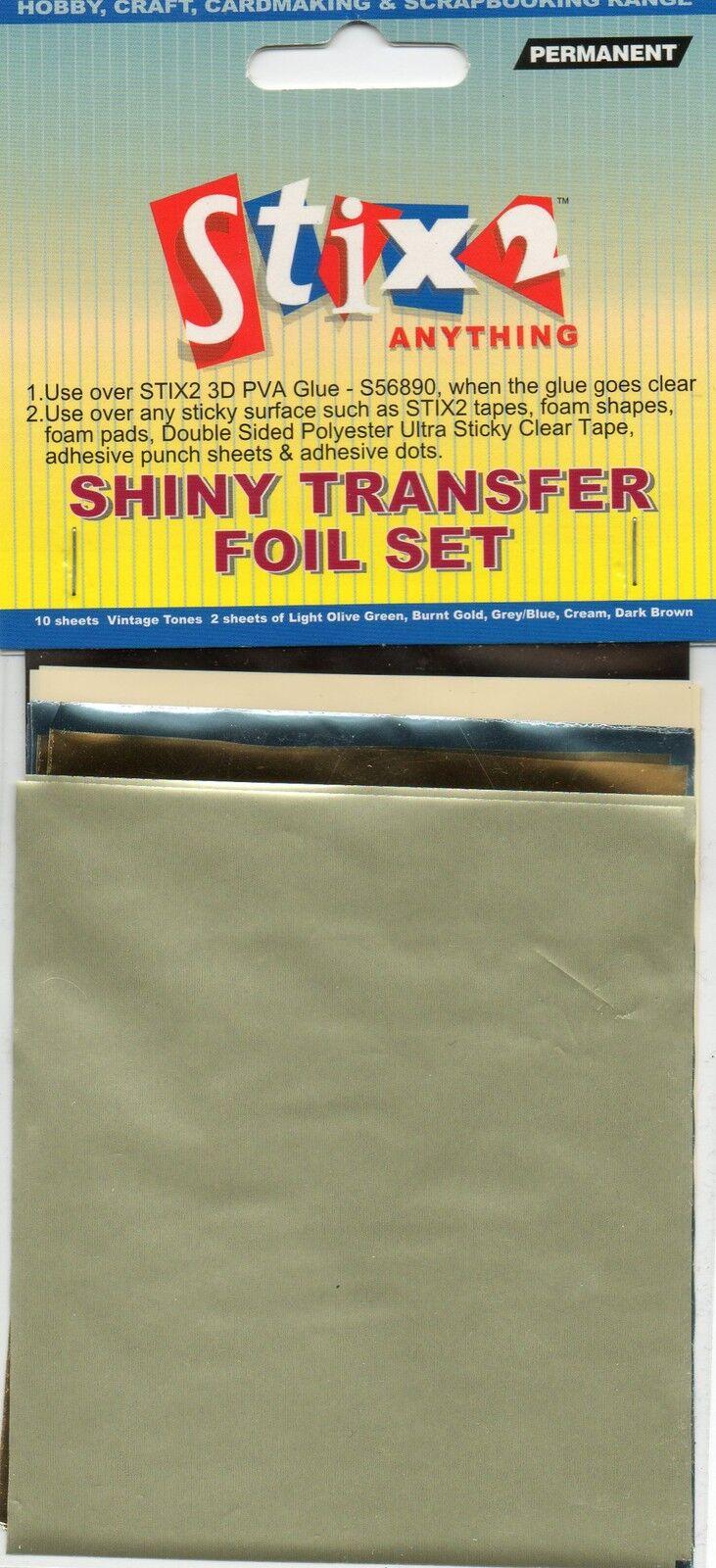 Vintage Tones Hobby Craft Card Making Stix2 Shiny Transfer Foils