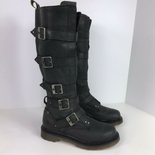 Dr. Martens Phina boot leather buckle boot 5 Knee