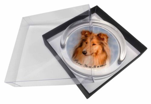Rough Collie Dog /'Love You Mum/' Glass Paperweight in Gift Box Chris AD-RC1lymPW