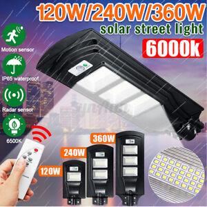 120-360W-LED-Lampione-Stradale-Faro-LED-Pannello-Solare-Telecomando-Sensore-Luce