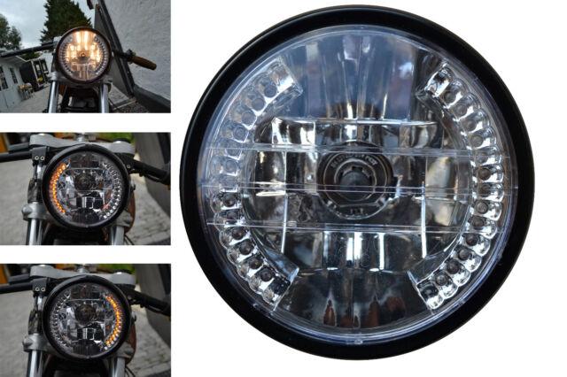"Motorbike Custom Headlight with Built In LED Indicators Turn Signals 7"" 12V 35W"