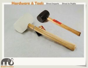 2pc-Set-24oz-White-Soft-12oz-Black-Harder-Rubber-Mallet-Wooden-Handle-Hammer