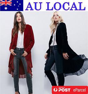 Thick-Velvet-Women-039-s-Autumn-Winter-Cardigan-Wrap-Top-Open-Jacket-High-Low-Coat