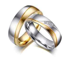 Coppia-Fedi-Fede-Fedine-Anello-Anelli-Fidanzamento-Nuziali-Cristallo-Oro-Acciaio