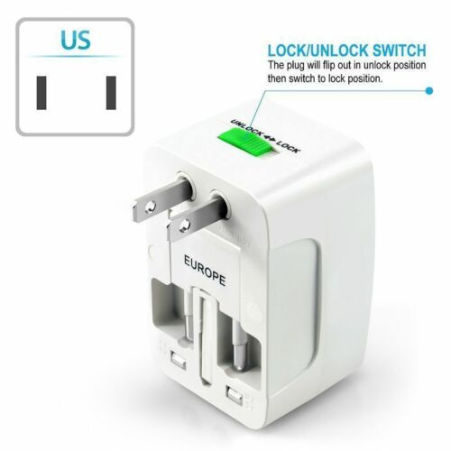 3Pc US to EU Universal Travel Adapter Charger Converter AC Power Plug Socket USA