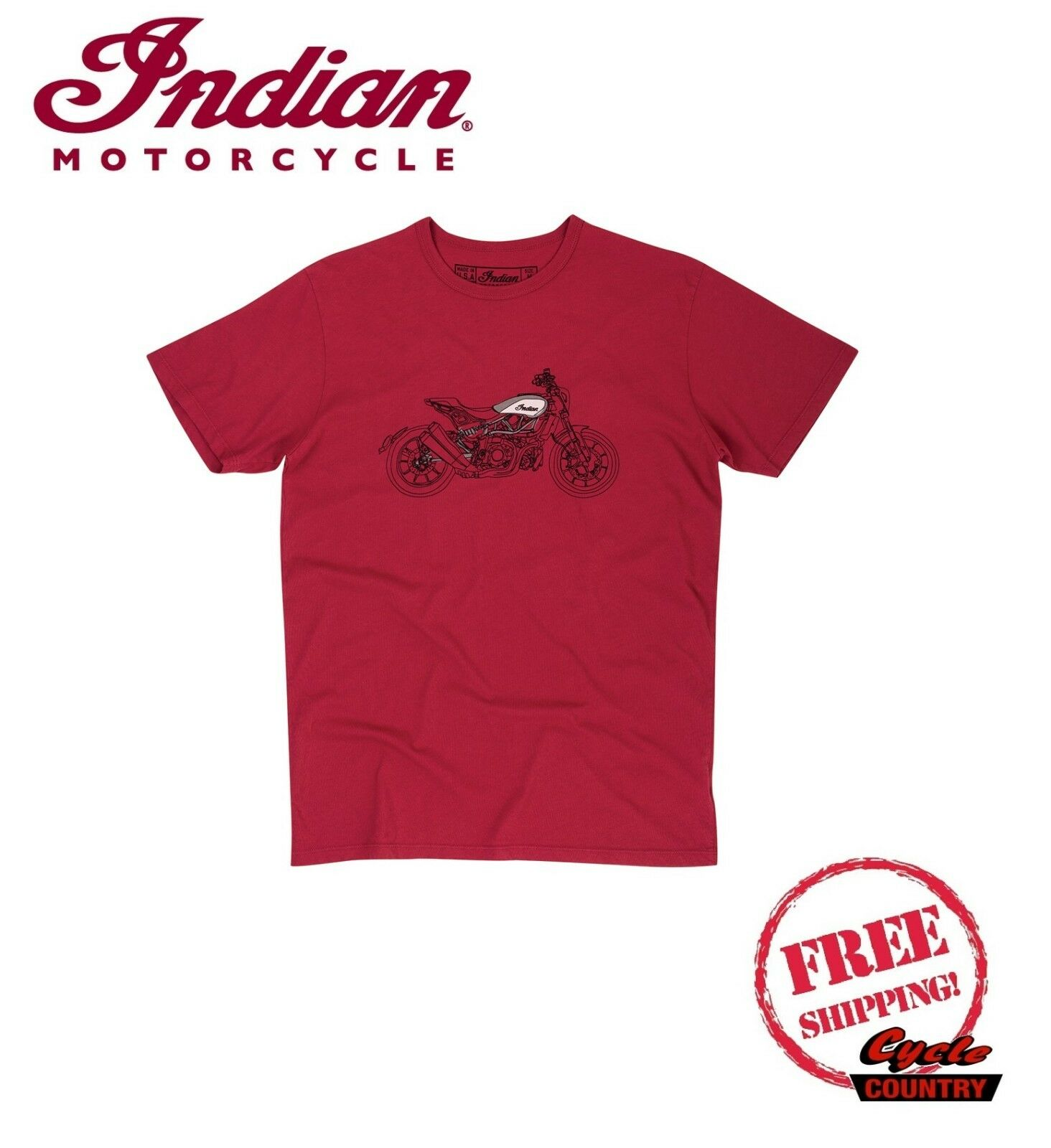 GENUINE INDIAN MOTORCYCLE BRAND COTTON T-SHIRT TEE FTR 1200 HAND DRAWN BIKE RED