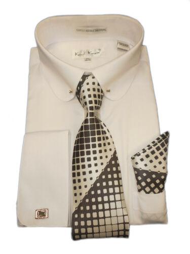 Mens Karl Knox White Cuffed Dress Shirt Club Pin Collar Black White Tie SX4404