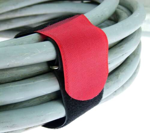 10x Kabelbinder Klettverschluss 50 cm x 50 mm rot Klettband Klettkabelbinder Öse