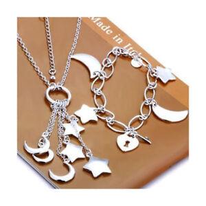 Der GüNstigste Preis Asamo Damen Schmuckset Mond Und Sterne Halskette Armband Silber Plattiert Eine GroßE Auswahl An Farben Und Designs