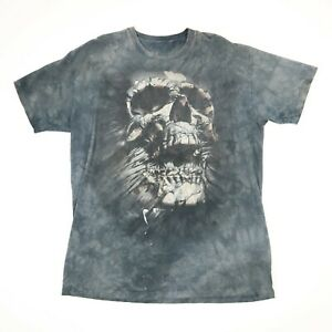 The-Mountain-Skull-T-Shirt-XL-Faded-Black-Paint-Distressed-Goth-Grunge-Metal