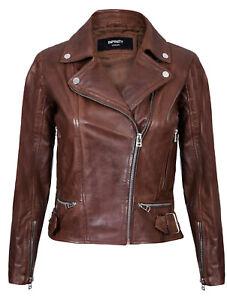 Da-Donna-Vera-Pelle-Aderente-Vintage-Stile-Biker-Moda-Giacca-con-cerniera