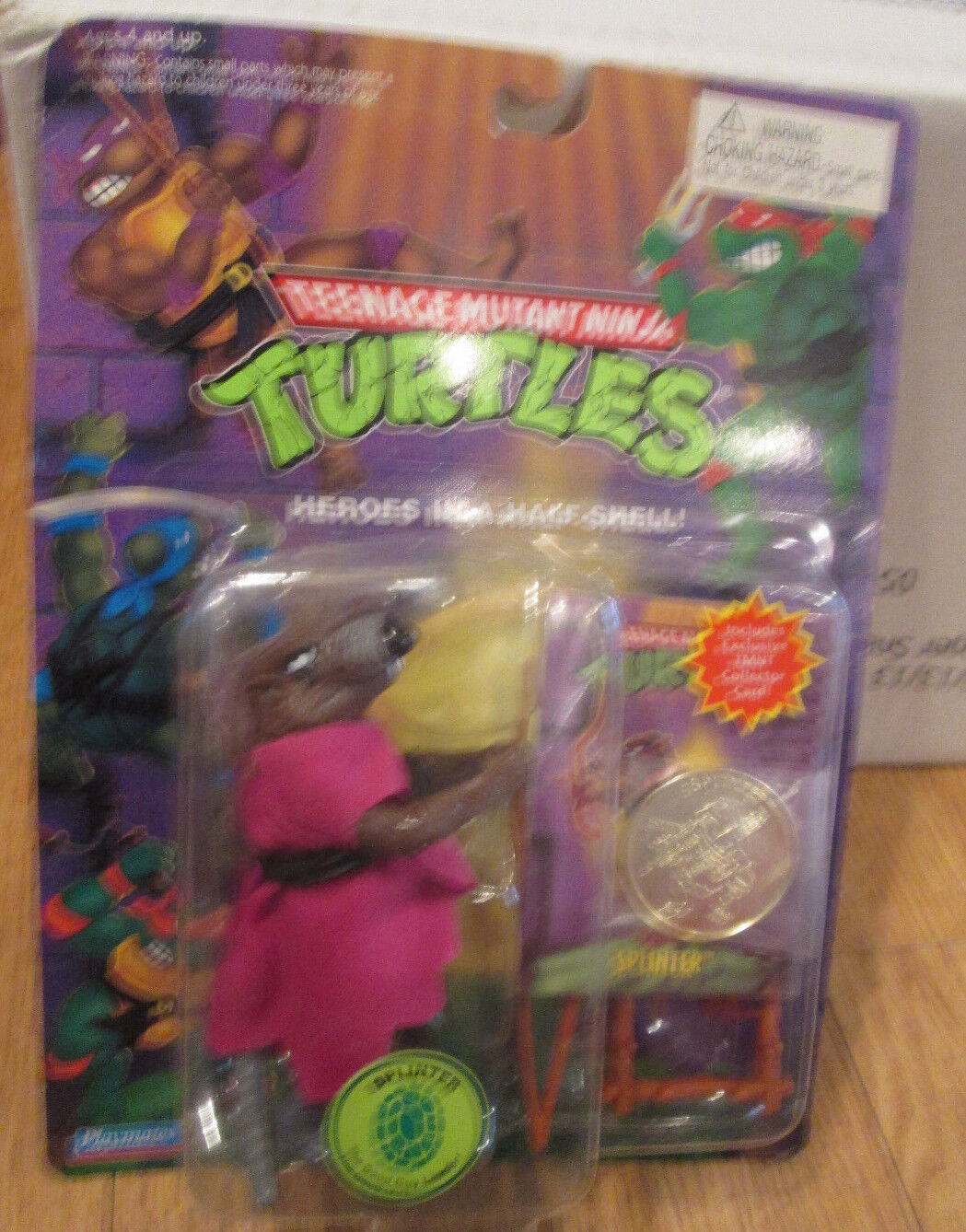 RARE SPLINTER FIGURE Teenage Mutant NinjaTurtles W/Collectors CARD & COIN TMNT